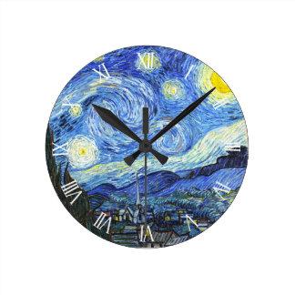 Van Gogh Starry Night Roman Numerals Wall Clock