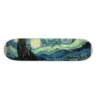 Van gogh starry night vector skate board