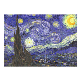 Van Gogh Starry Night, Vintage Fine Art Landscape 13 Cm X 18 Cm Invitation Card