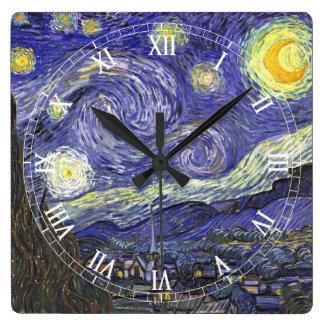 Van Gogh Starry Night, Vintage Fine Art Landscape Clocks