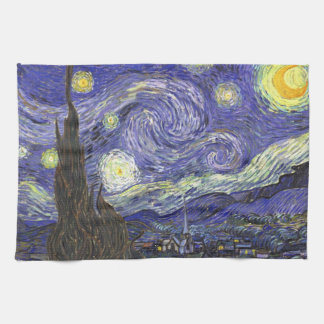 Van Gogh Starry Night, Vintage Fine Art Landscape Kitchen Towel