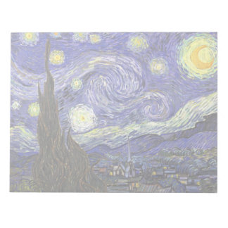 Van Gogh Starry Night, Vintage Fine Art Landscape Memo Note Pads