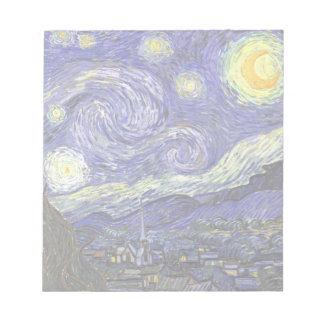 Van Gogh Starry Night, Vintage Fine Art Landscape Notepads