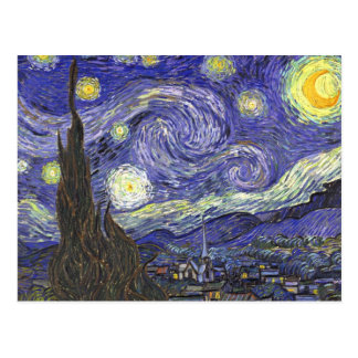 Van Gogh Starry Night, Vintage Fine Art Landscape Postcard