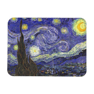 Van Gogh Starry Night, Vintage Fine Art Landscape Rectangular Photo Magnet