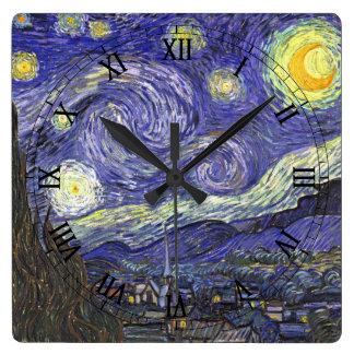 Van Gogh Starry Night, Vintage Fine Art Landscape Wallclock