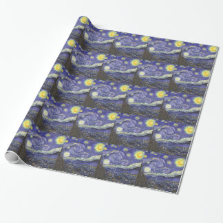 Van Gogh Starry Night, Vintage Fine Art Landscape Wrapping Paper