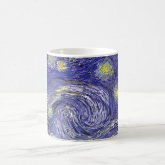 Van Gogh Starry Night, Vintage Landscape Art Basic White Mug