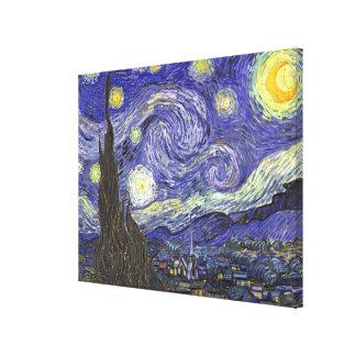 Van Gogh Starry Night, Vintage Landscape Art Canvas Print