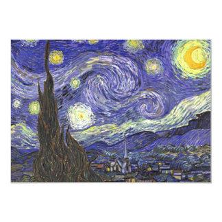 Van Gogh Starry Night, Vintage Landscape Art 13 Cm X 18 Cm Invitation Card
