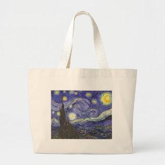 Van Gogh Starry Night, Vintage Landscape Art Jumbo Tote Bag