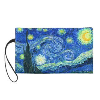 van gogh starry  night wristlet purse