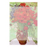 Van Gogh Still Life Flower Red Poppies and Daisies Stationery Design