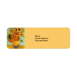 Van Gogh - Still Life Vase with 12 Sunflowers Return Address Label