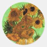 Van Gogh; Still Life: Vase with 12 Sunflowers Round Sticker