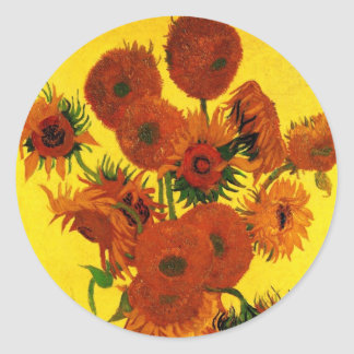 Van Gogh Still Life: Vase with 15 Sunflowers Round Sticker