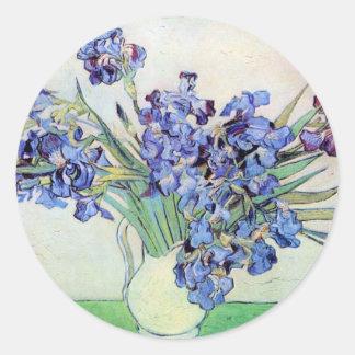 Van Gogh Still Life Vase with Irises, Vintage Art Round Sticker