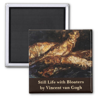 Van Gogh Still Life w Bloaters, Vintage Fine Art Square Magnet