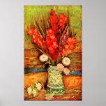 Van Gogh - Still Life with red gladiolas Poster