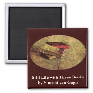 Van Gogh; Still Life with Three Books, Vintage Art Square Magnet