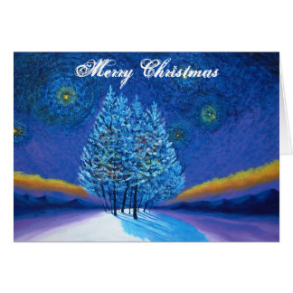 Van Gogh Style Blue Christmas Card