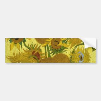 Van Gogh Sunflowers (F458) Vintage Fine Art Bumper Sticker
