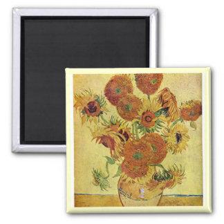 Van Gogh Sunflowers Square Magnet