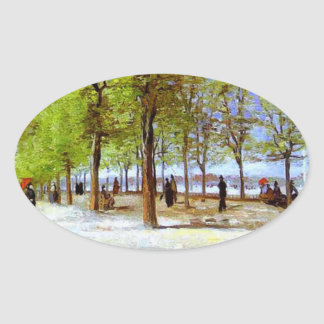 Van Gogh: Terrace in the Luxembourg Garden Oval Sticker
