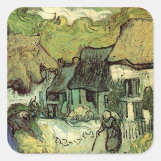 Van Gogh Thatched Cottage Jorgus, Vintage Fine Art Square Sticker
