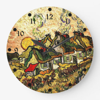 Van Gogh: Thatched Cottages in the Sunshine Wallclocks