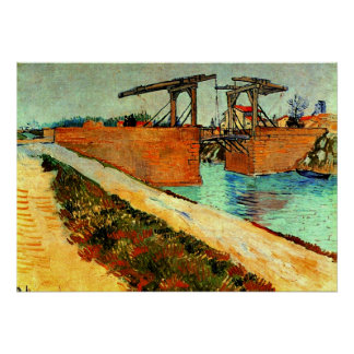 Van Gogh - The Langlois Bridge with Road Poster