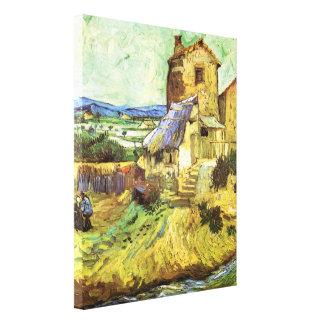 Van Gogh; The Old Mill, Vintage Building Landscape Stretched Canvas Print