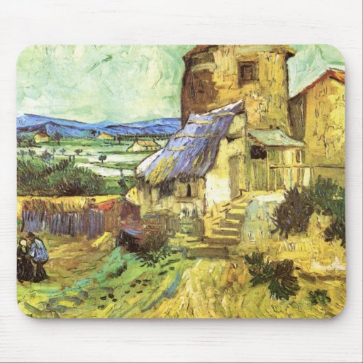 Van Gogh; The Old Mill, Vintage Building Landscape Mouse Pads