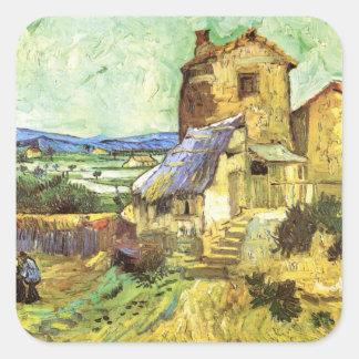 Van Gogh The Old Mill Vintage Building Landscape Square Sticker