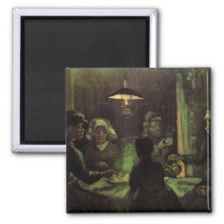 Van Gogh; The Potato Eaters, Vintage Impressionism Square Magnet