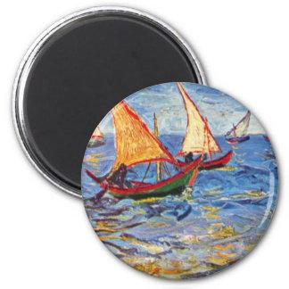 Van Gogh - The Sea At Saintes Maries 1 Inch Round Magnet