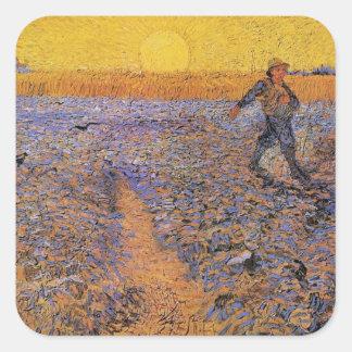 Van Gogh, The Sower, Vintage Impressionism Art Square Sticker