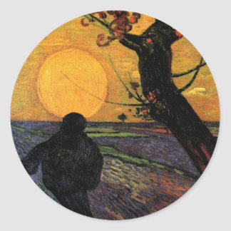 Van Gogh; The Sower, Vintage Peasant Farmer Round Sticker