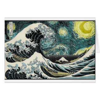 Van Gogh The Starry Night - Hokusai The Great Wave Greeting Card