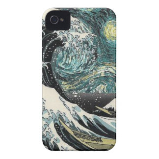 Van Gogh The Starry Night - Hokusai The Great Wave iPhone 4 Case-Mate Case