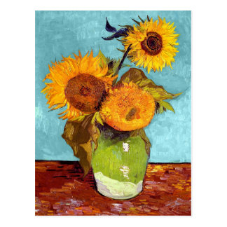 Van Gogh - Three Sunflowers In A Vase - Fine Art Postcard