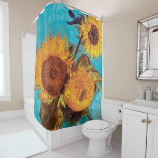 Van Gogh - Three Sunflowers In A Vase - Fine Art Shower Curtain