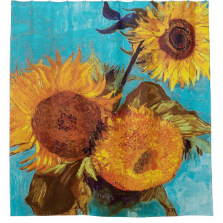 Van Gogh - Three Sunflowers In A Vase - Fine Art Shower Curtain