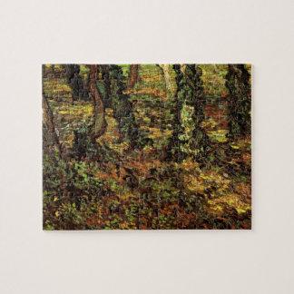 Van Gogh Tree Trunks w Ivy, Vintage Impressionism Puzzle