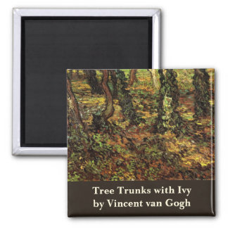 Van Gogh Tree Trunks w Ivy, Vintage Impressionism Square Magnet