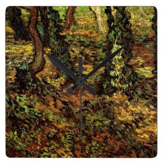 Van Gogh Tree Trunks w Ivy, Vintage Impressionism Wallclock