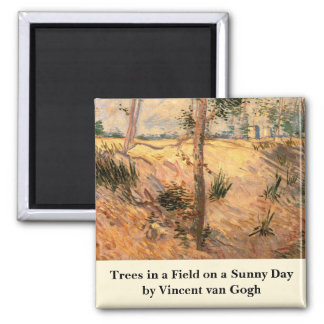 Van Gogh Trees in a Field on a Sunny Day Square Magnet