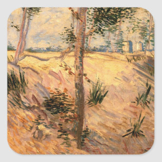 Van Gogh Trees in a Field on a Sunny Day Square Sticker