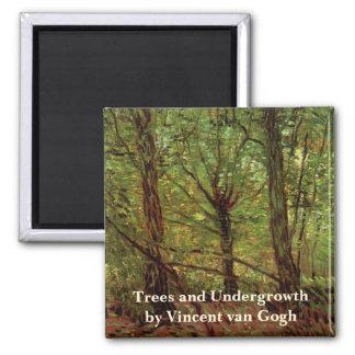 Van Gogh Trees Undergrowth, Vintage Impressionism Square Magnet