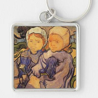 Van Gogh, Two Children, Vintage Impressionism Art Key Ring